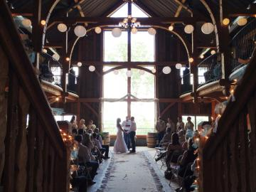 Barn wedding ceremony moment