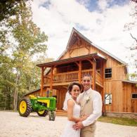 Rustic barn wedding tractor